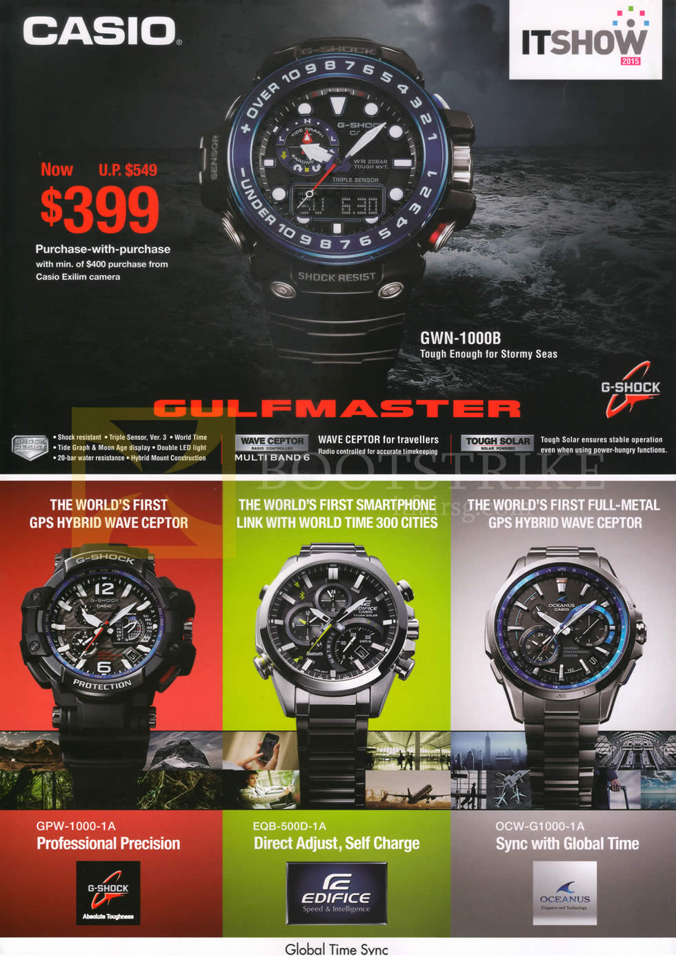 IT SHOW 2015 price list image brochure of Casio Watches G-Shock Gulfmaster GWN-1000B, GPW-1000-1A, EQB-500D-1A, OCW-G1000-1A