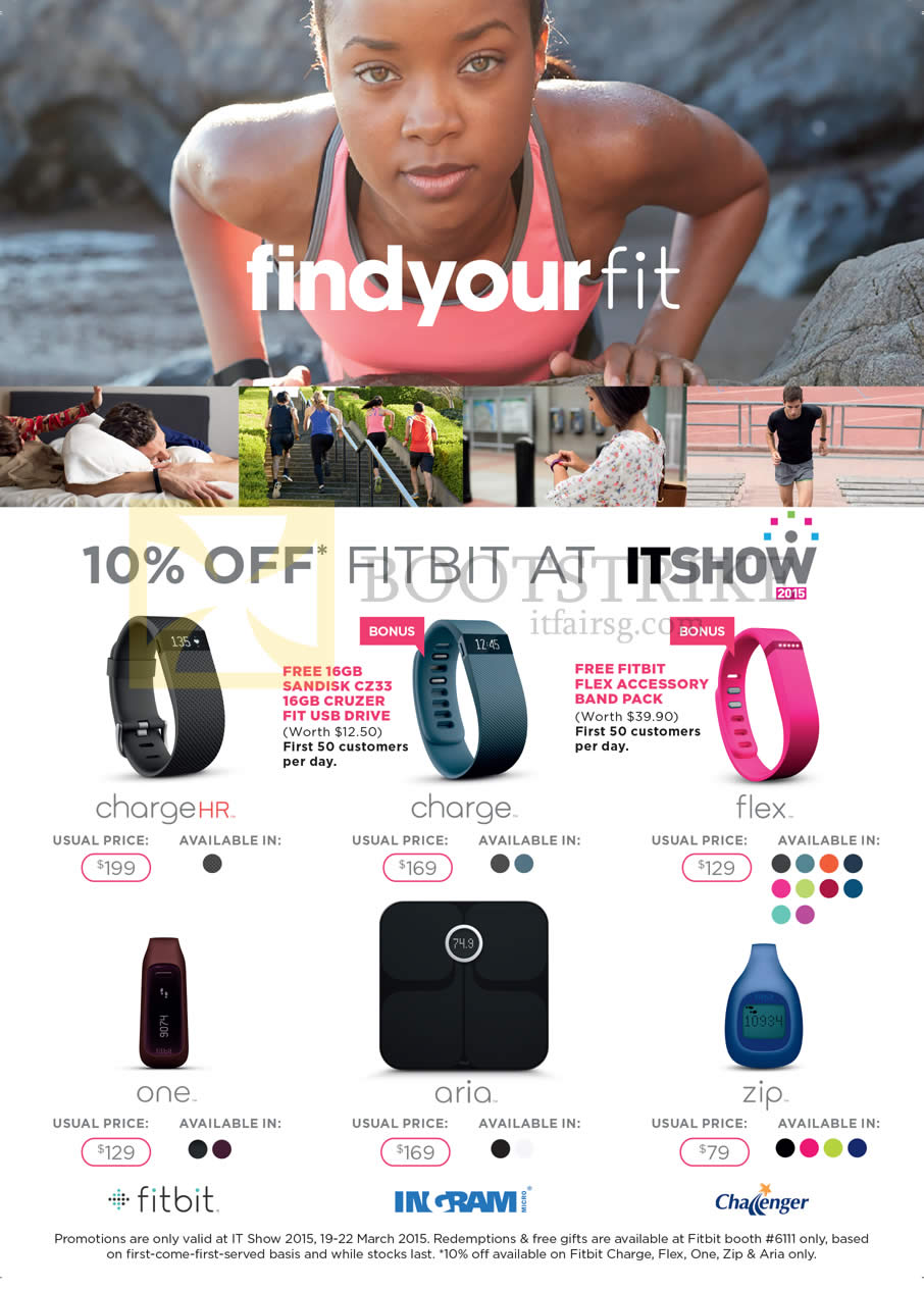 IT SHOW 2015 price list image brochure of Challenger Fitbit Charge HR, Flex, One, Aria, Zip