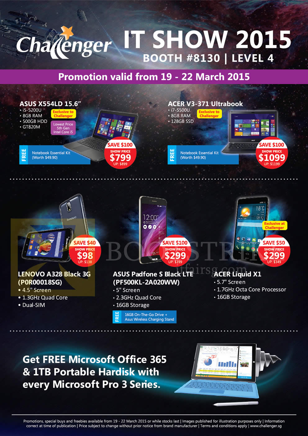 IT SHOW 2015 price list image brochure of Challenger Notebooks, Mobile Phones Asus, Acer, Lenovo, X554LD, Padfone S, V3-371, Liquid X1, A328 Black