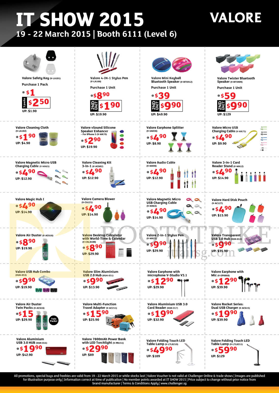 IT SHOW 2015 price list image brochure of Challenger Valore Accessories Bluetooth Speaker, Charging Cable, Calculator, Air Duster, Torchlight, LED Table Lamp, USB Hub, Card Reader