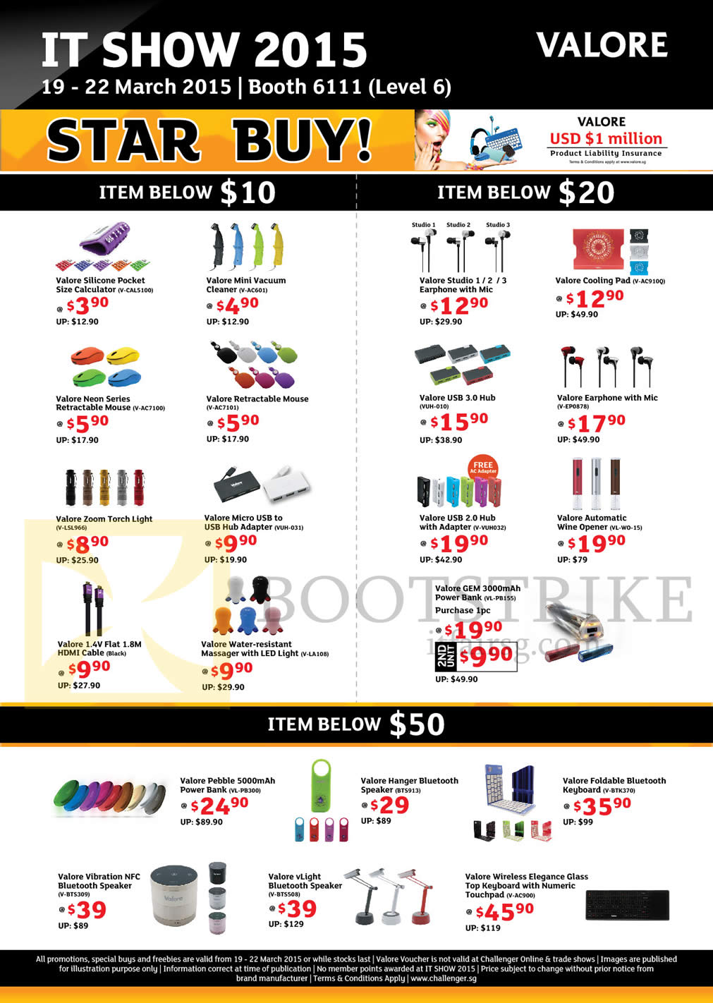 IT SHOW 2015 price list image brochure of Challenger Valore Accessories, Speaker, Keyboard, Power Bank, USB Hub, Earphone, Cooling Pad, Torch Light