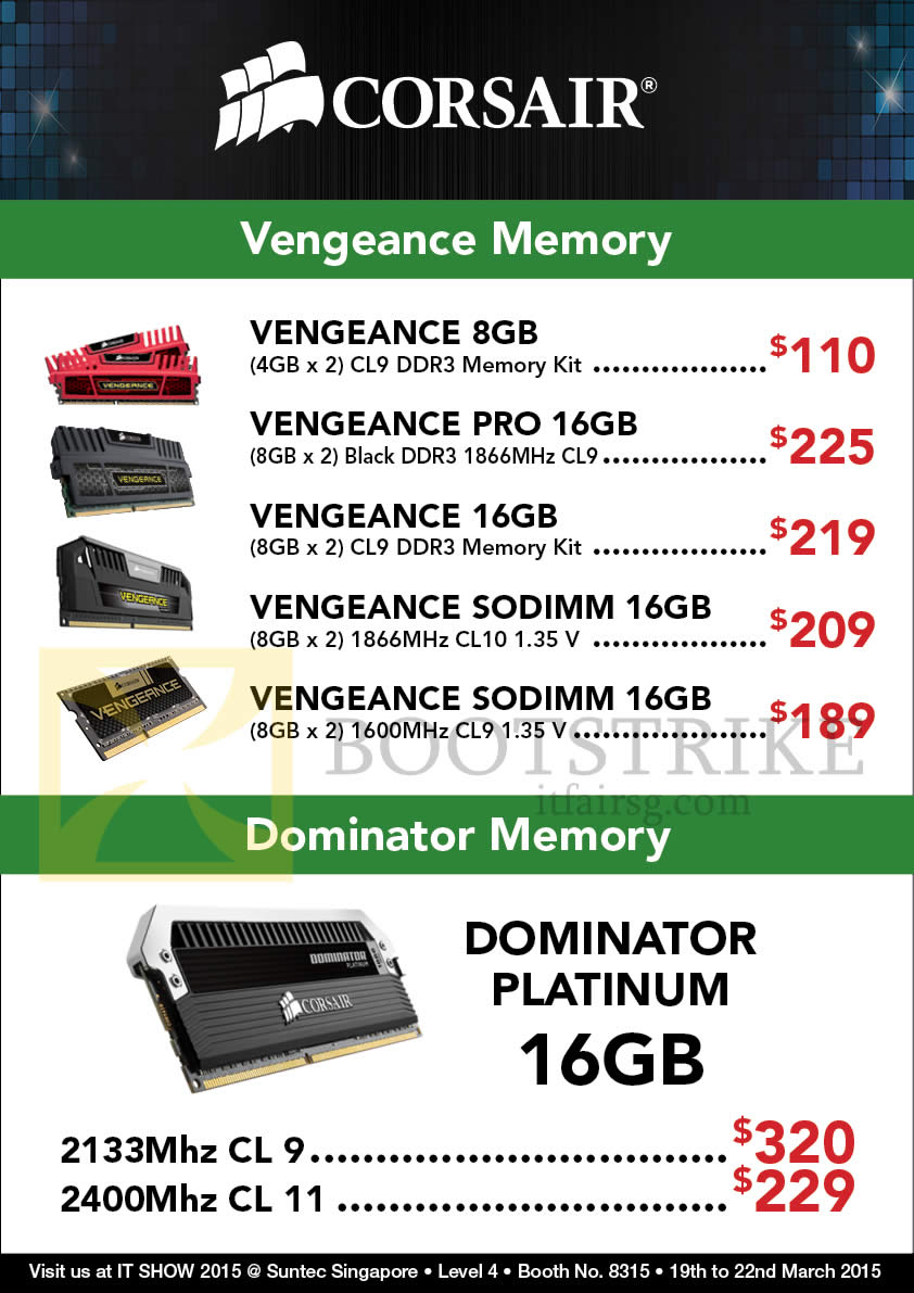 IT SHOW 2015 price list image brochure of Convergent Corsair RAM Memory Kit Vengeance, Dominator