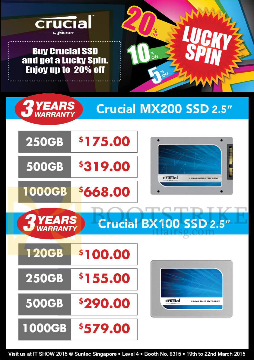 IT SHOW 2015 price list image brochure of Convergent Crucial SSD MX200, BX100, 120GB, 250GB, 500GB, 1TB