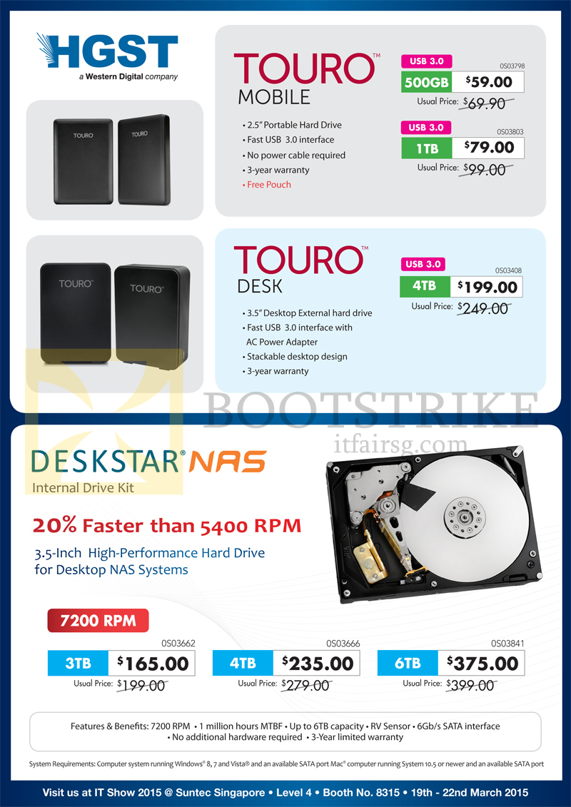 IT SHOW 2015 price list image brochure of Convergent HGST Deskstar NAS Internal Drive Kit, External Storage, Touro Mobile, Desk, Deskstar NAS 500GB, 1TB, 3TB, 4TB, 6TB