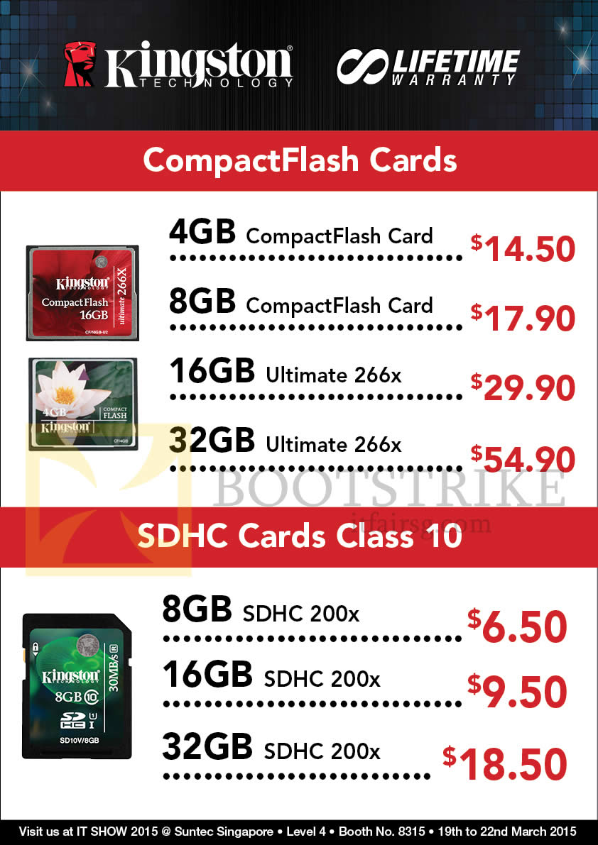 IT SHOW 2015 price list image brochure of Convergent Kingston Memory Cards CompactFlash, SDHC 4GB, 8GB, 16GB, 32GB