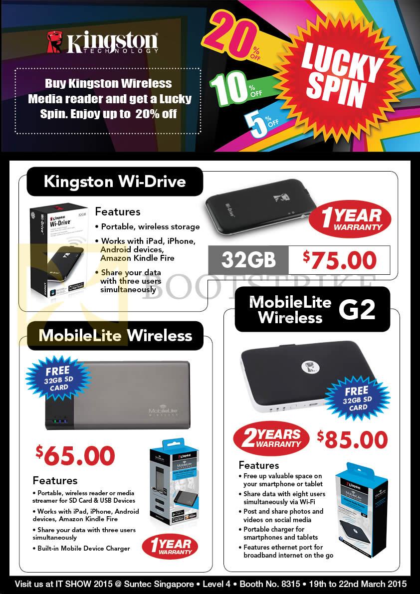IT SHOW 2015 price list image brochure of Convergent Kingston Wireless Media Readers Wi-Drive, MobileLite Wireless, G2