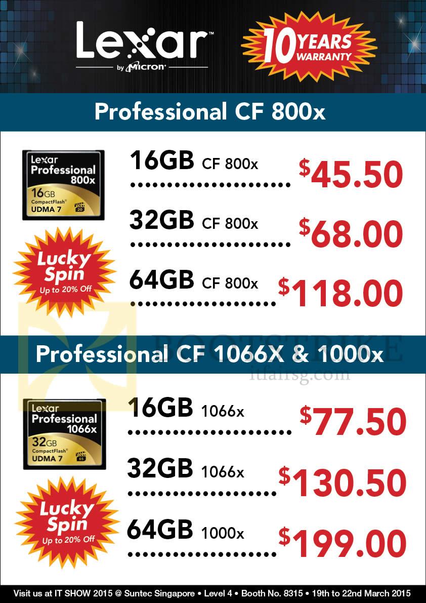 IT SHOW 2015 price list image brochure of Convergent Lexar CmpactFlash Cards Professional CF800X, CF1066X, 1000X, 16GB, 32GB, 64GB