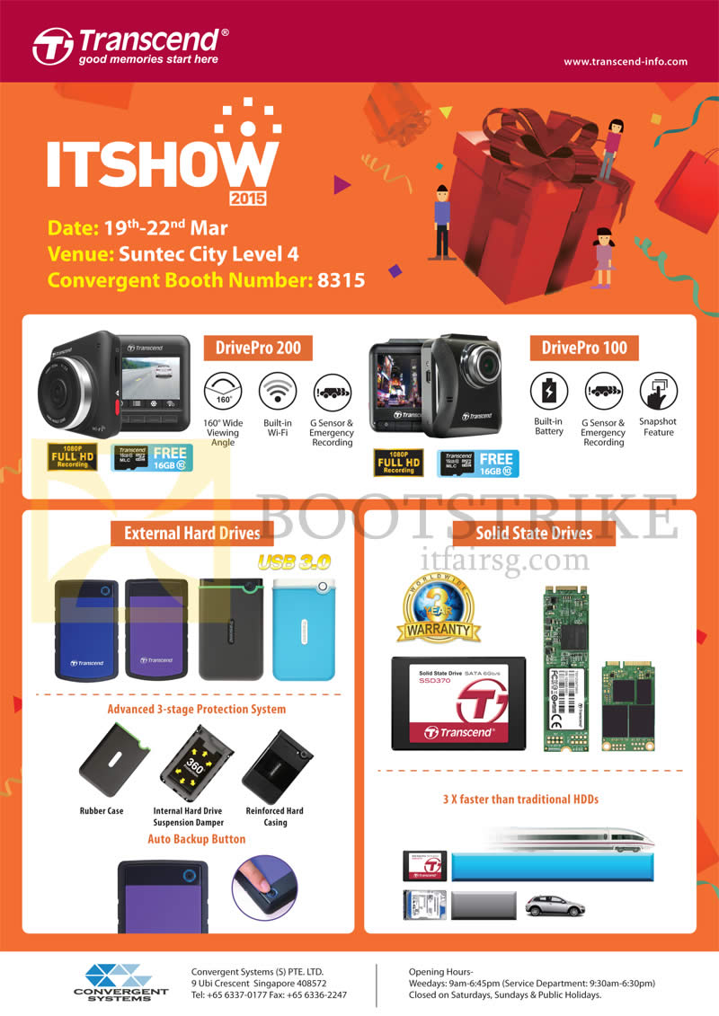 IT SHOW 2015 price list image brochure of Convergent Transcend Car Cameras, External Hard Drives, Solid State Drives SSD