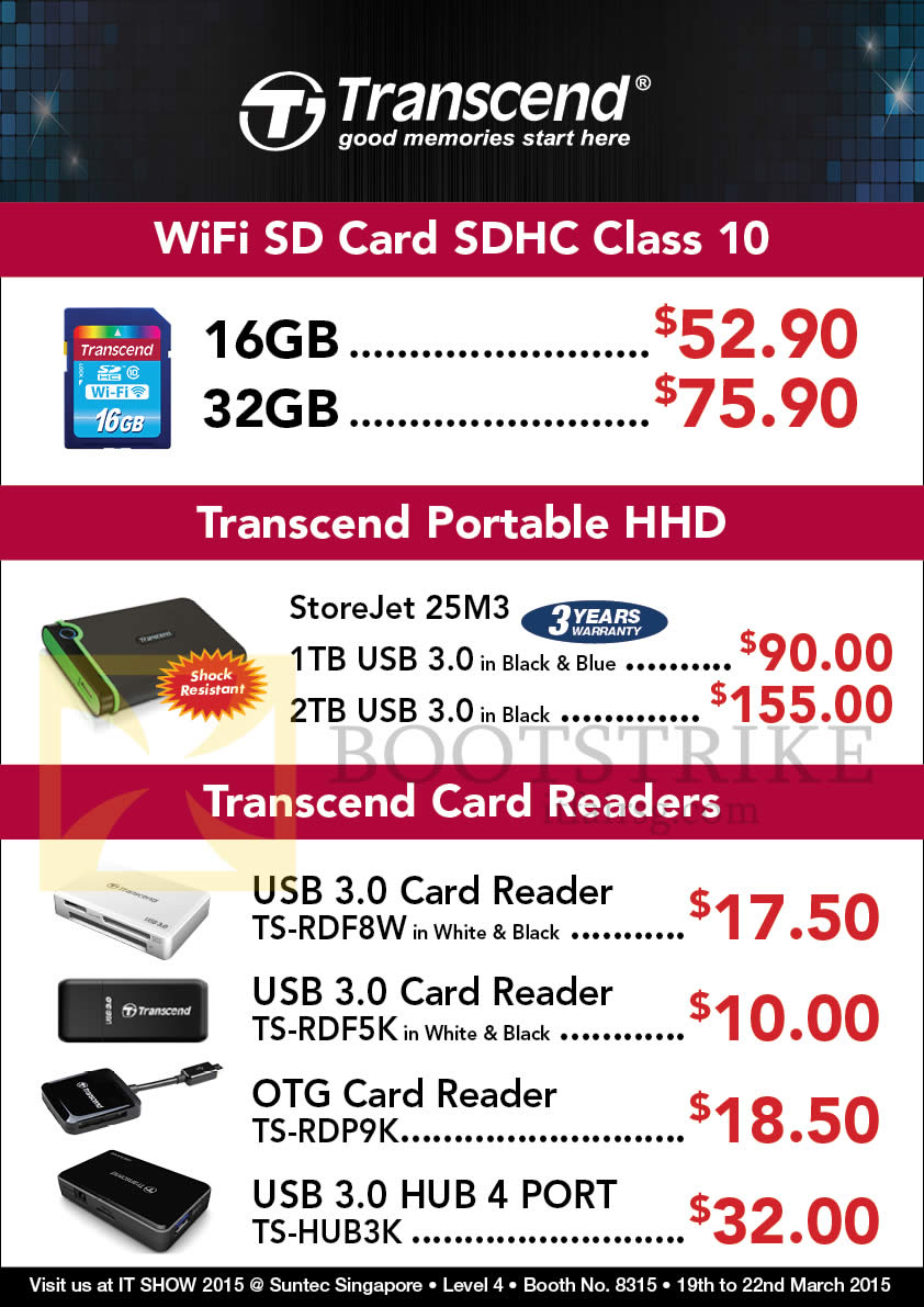 IT SHOW 2015 price list image brochure of Convergent Transcend WiFi Card, Portable HHD, Card Reader 16GB, 32GB, 1TB, 2TB