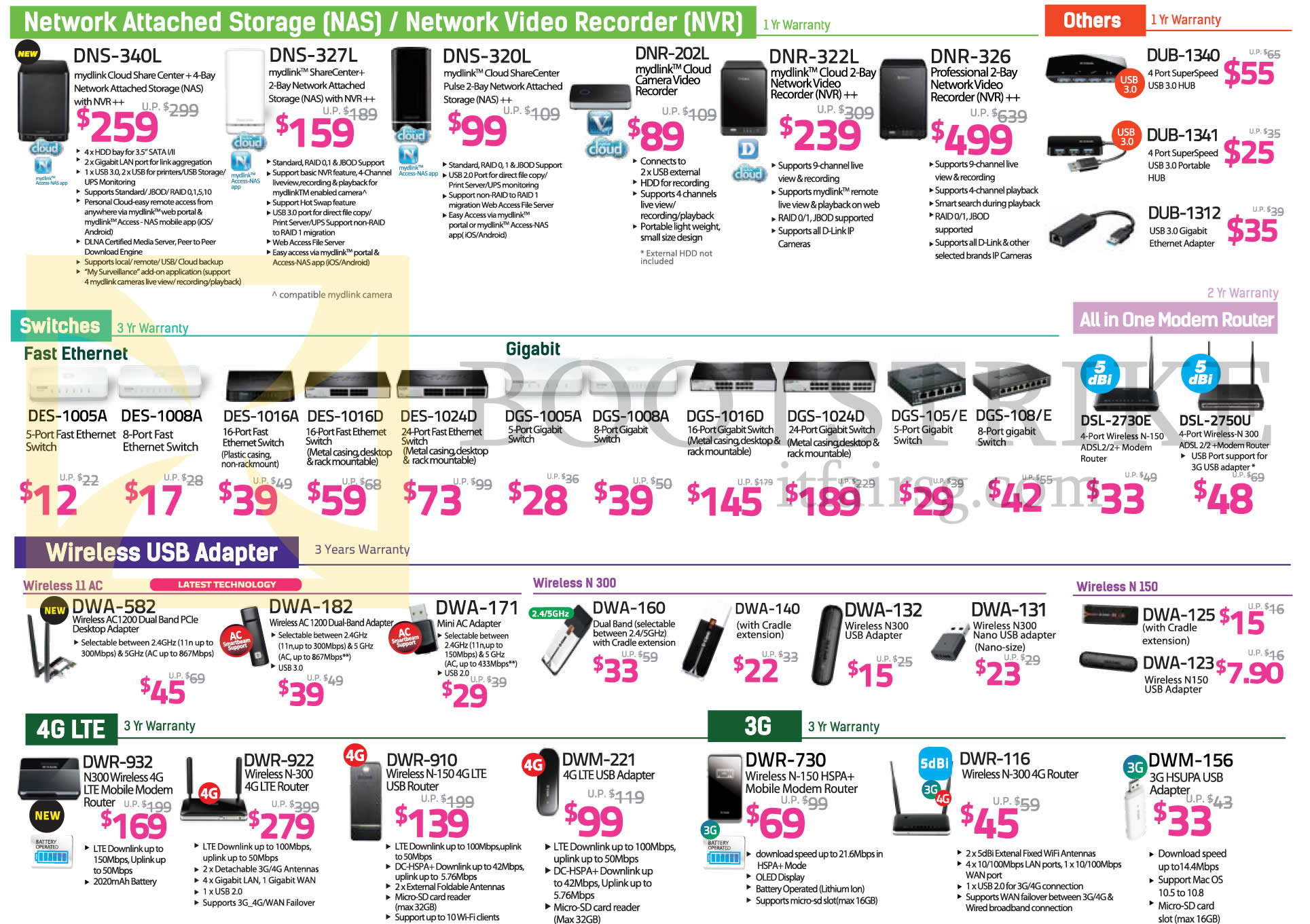 IT SHOW 2015 price list image brochure of D-Link NAS, NVR, Switches, Modem Router, Wireless USB Adapter, DNS-340L, 327L, 320L, DNR-202L, 322L, 326, DUB-1340, 1341, 1312, DES-1005A, 1008A, 1016A, 1024D, DSL-2730E, DSL-2750U