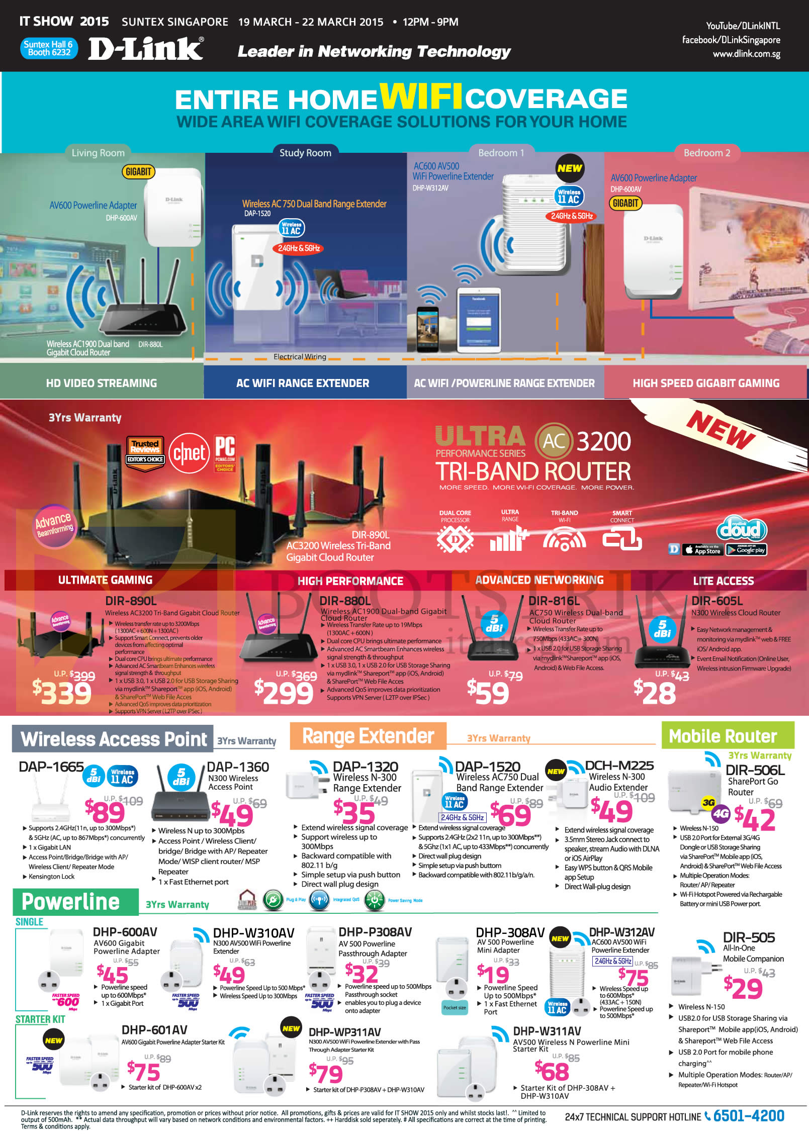 IT SHOW 2015 price list image brochure of D-Link Networking Wireless Range Extender, Router, Powerline, DAP-1665, 1360, 1320, 1520, DCH-M225, DHP-600AV, W310AV, P308AV, 308AV, W312AV, W311AV, 601AV, WP311AV, DIR-505