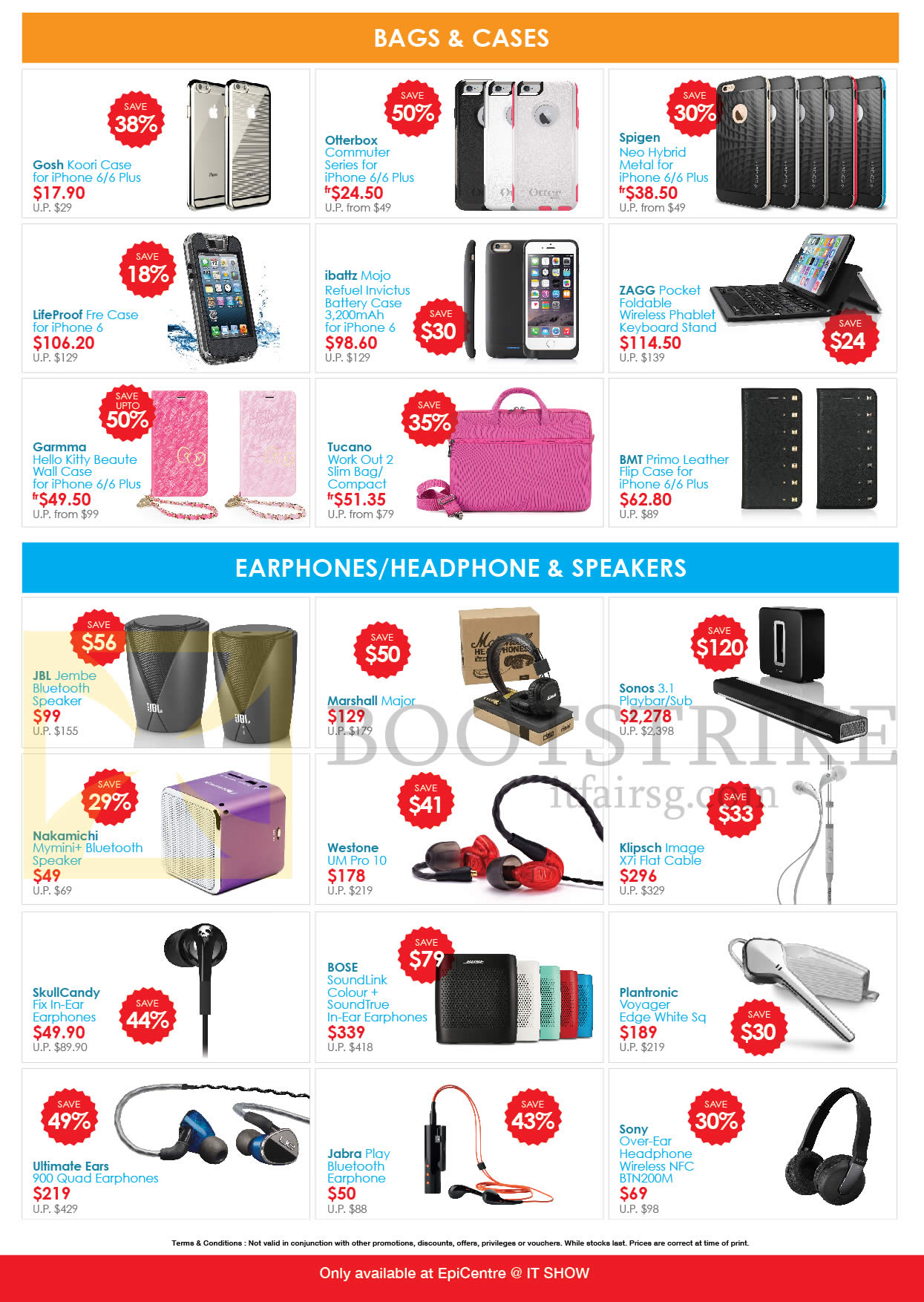 IT SHOW 2015 price list image brochure of EpiCentre Accessories Bags, Cases, Earphones, Headphones, Speakers, Gosh, Zagg, Tucano, Lifeproof, Garmma, JBL, Marshall, Sonos, Bose, Klipsch, Westone, Sony, Ultimate Ears