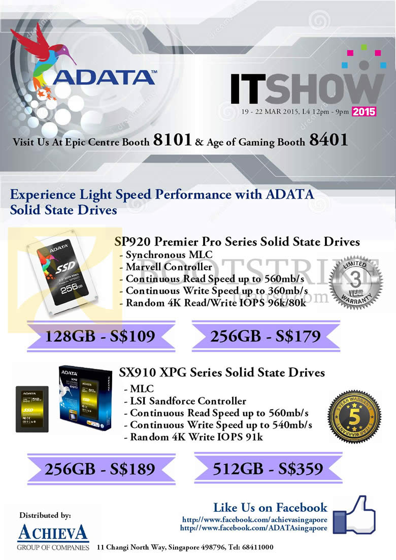 IT SHOW 2015 price list image brochure of EpiCentre Adata SSD SP920 Premier Pro, SX910 XPG Series 128GB, 256GB, 512GB
