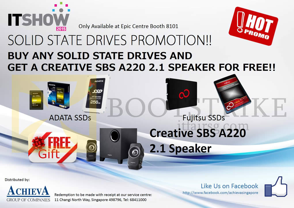 IT SHOW 2015 price list image brochure of EpiCentre Adata, Fujitsu SSD, Free Creative SBS A220 Speakers
