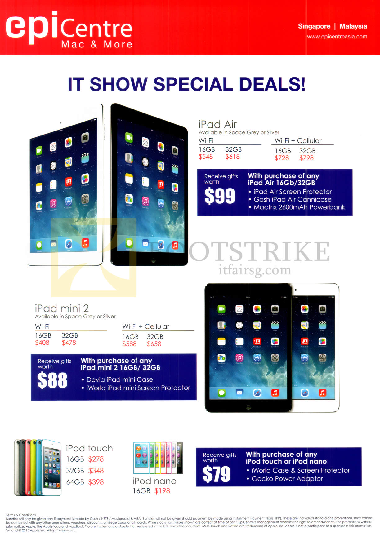 IT SHOW 2015 price list image brochure of EpiCentre Apple IPad Air Tablet, IPad Mini 2, IPod Touch