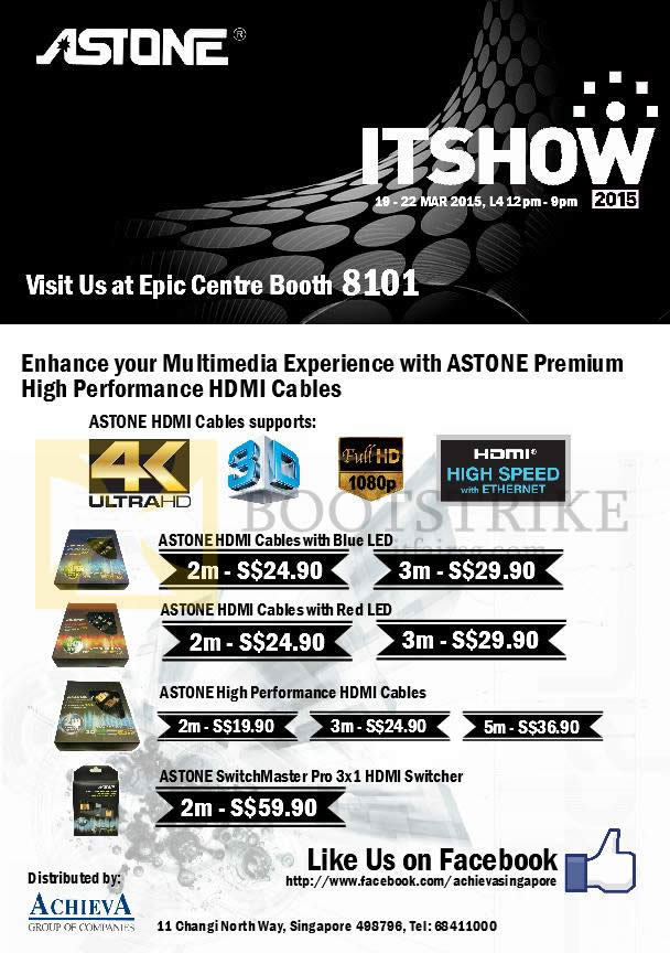 IT SHOW 2015 price list image brochure of EpiCentre Astone HDMI Cables, Switches 2m, 3m