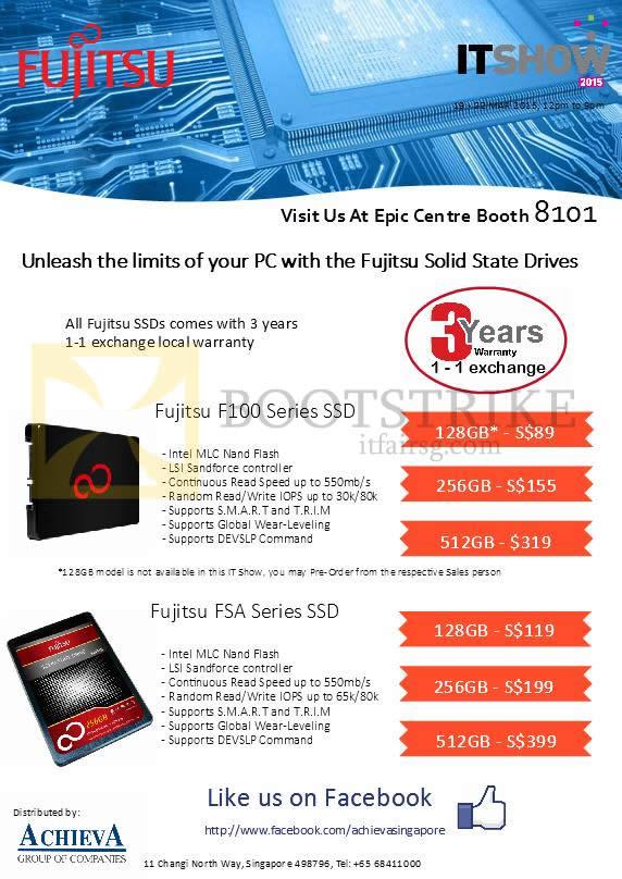 IT SHOW 2015 price list image brochure of EpiCentre Fujitsu SSD F100, FSA Series 128GB, 256GB, 512GB