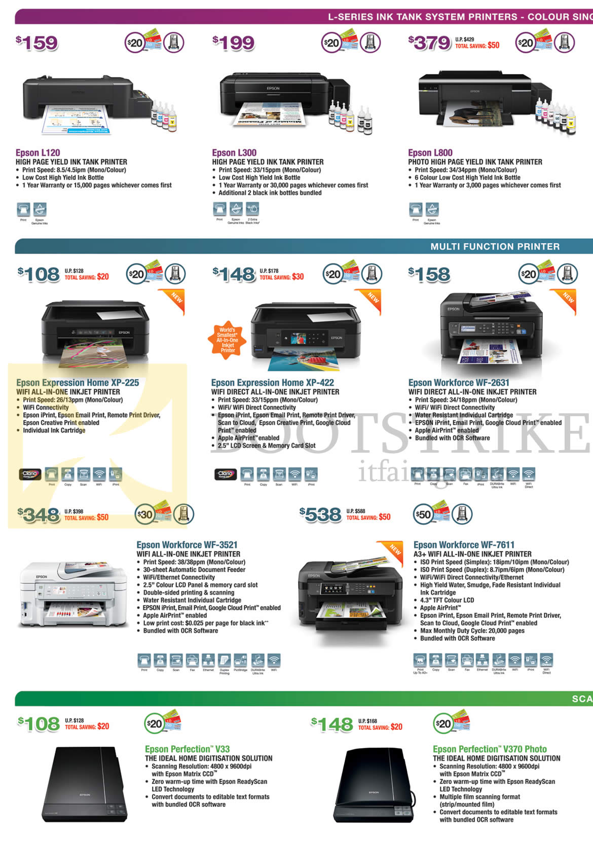 IT SHOW 2015 price list image brochure of Epson Printers Inkjet, Scanners, L120, L300, L800, Expression Home XP-225, XP-422, Workforce WF-2631, WF-3521, WF-7611, Perfection V33, V370 Photo