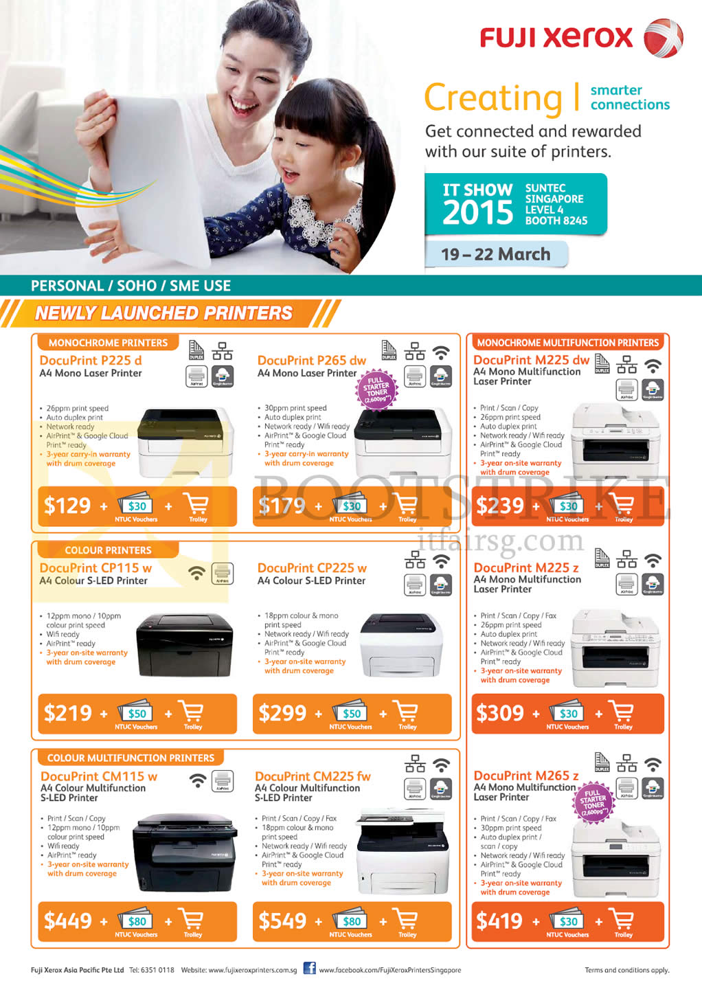Fuji Xerox Printers Laser Docuprint P225d P265dw Cp115w Cp225w It Show 2015 Price List Image Brochure Of