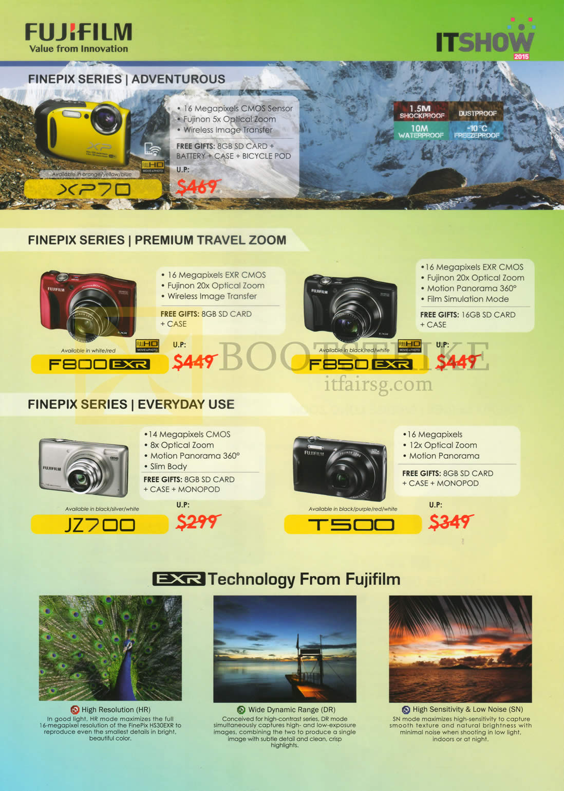 IT SHOW 2015 price list image brochure of Fujifilm (No Prices) Digital Cameras Finepix F800. F850, JZ700, T500