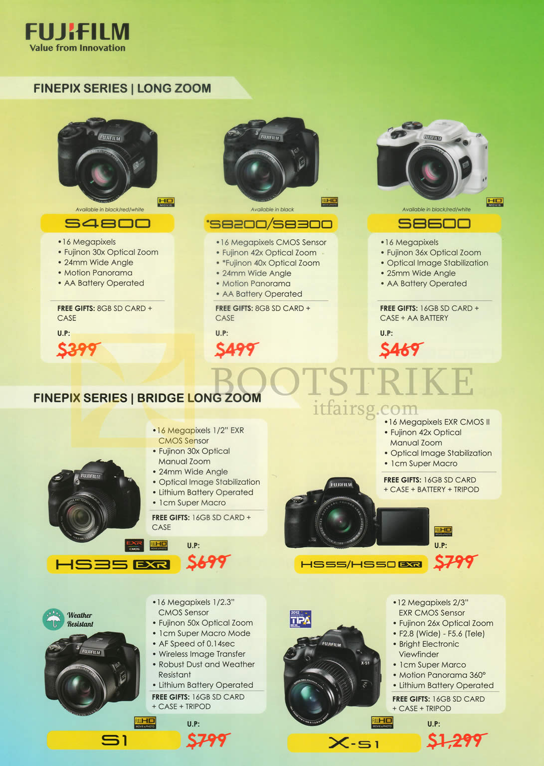 IT SHOW 2015 price list image brochure of Fujifilm (No Prices) Digital Cameras Finepix S4800, S8200, S8300, HS35, HS55, HS50, S1, X-S1