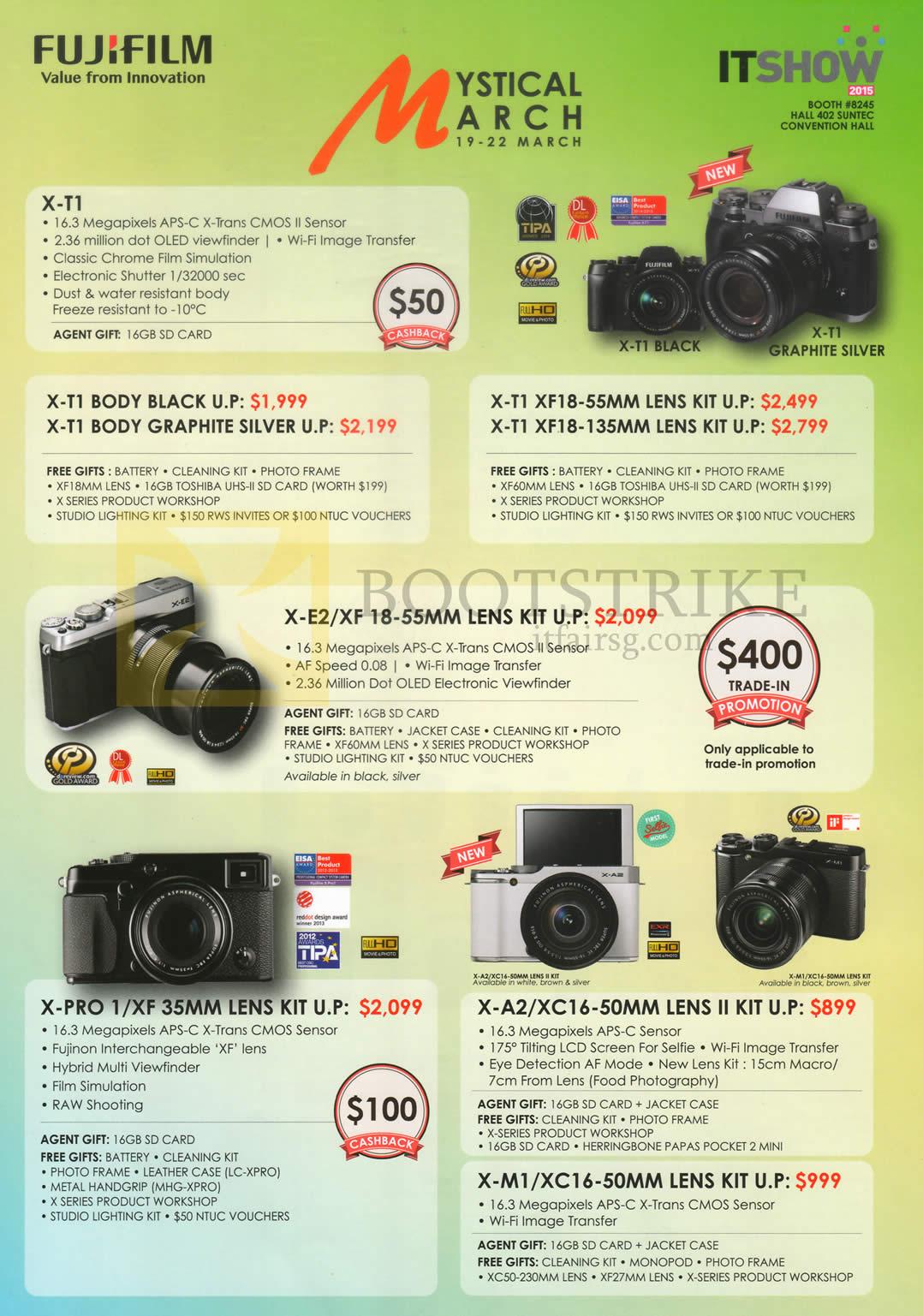 Fujifilm Digital Cameras X-T1, X-E2, X-Pro 1, X-A2, X-M1