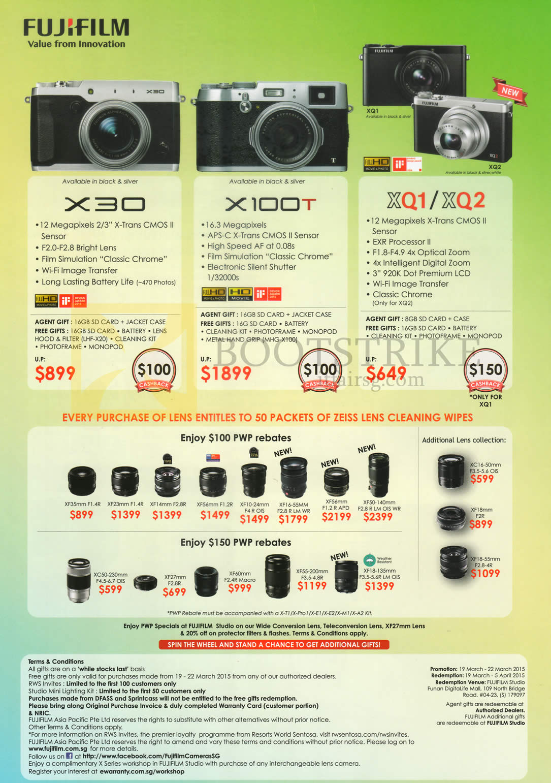 IT SHOW 2015 price list image brochure of Fujifilm (No Prices) Digital Cameras, Lenses X30, X100T, XQ1, XQ2