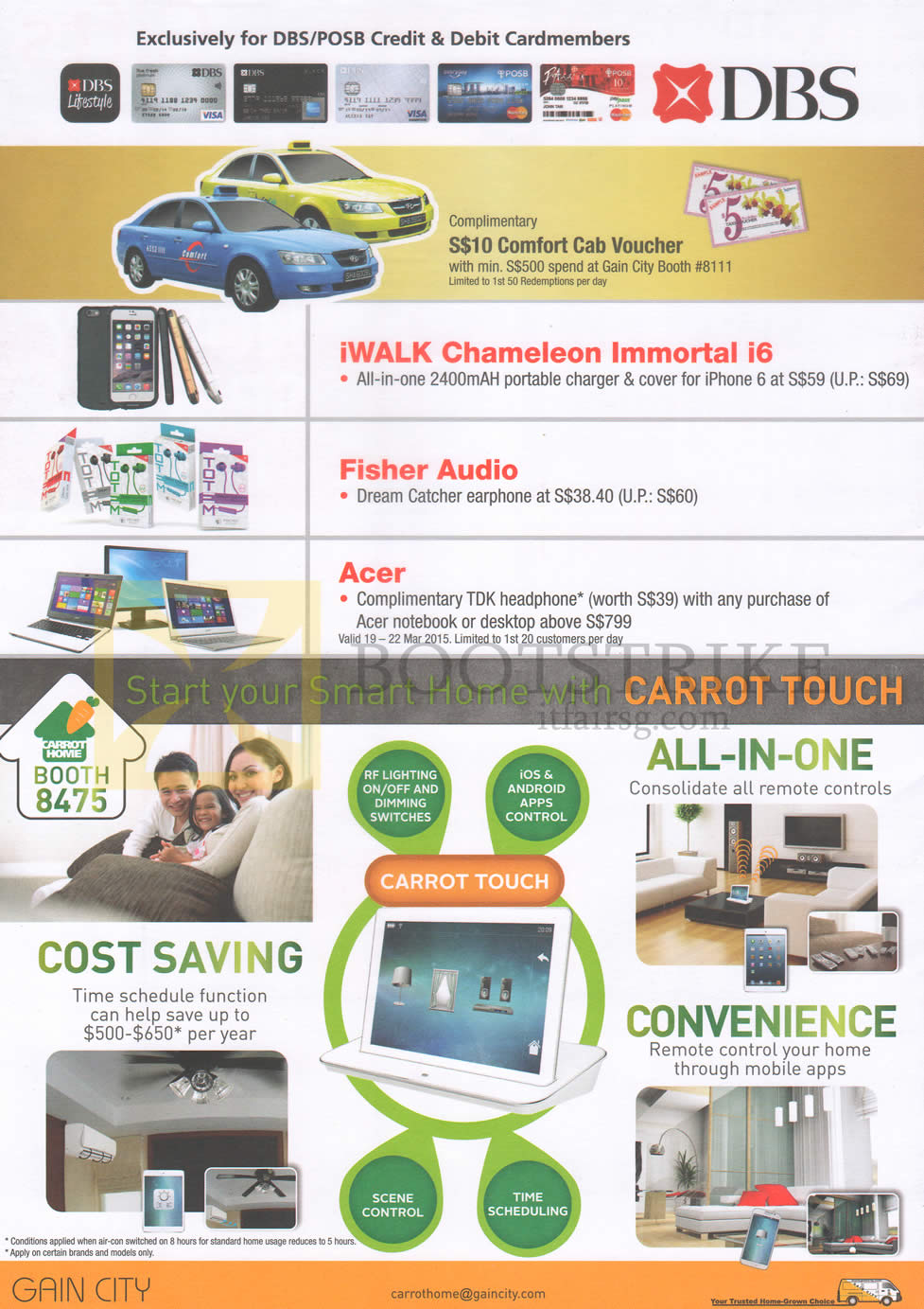 IT SHOW 2015 price list image brochure of Gain City Carrot Touch, DBS, POSB Cardmember Rewards