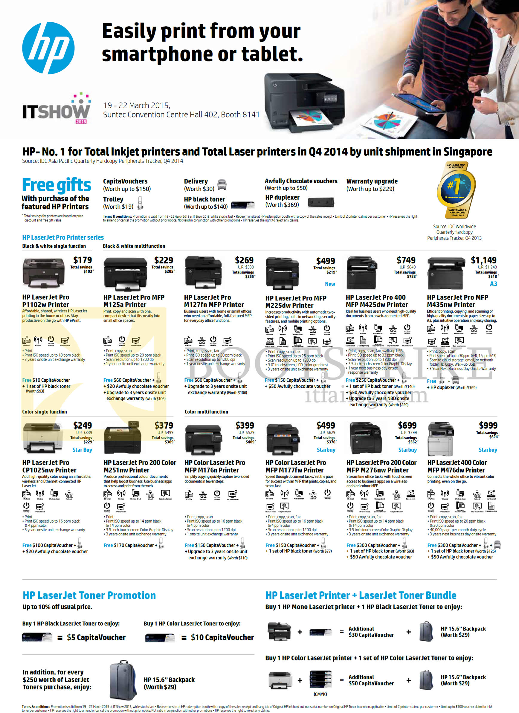 IT SHOW 2015 price list image brochure of HP Printers LaserJet Pro P1102W, M125a, M127fn, M225dw, M425dw, M435nw, CP1025nw, M251nw, M176n, M177fw, M276nw, M476dw