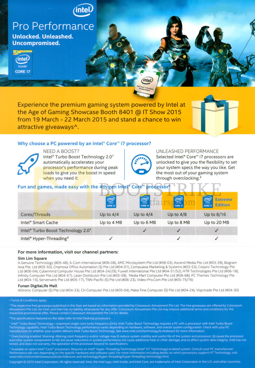 IT SHOW 2015 price list image brochure of Intel Age Of Gaming Showcase, Comparison Table 4th Gen I3 I5 I7 I7 Exteme Edition
