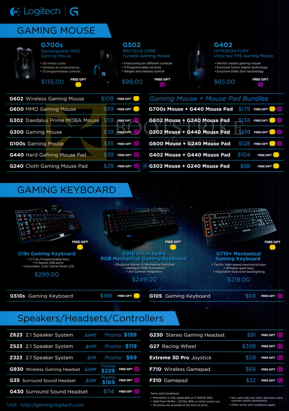IT SHOW 2015 price list image brochure of Logitech Gaming Mouse, Keyboards, Speakers, Headsets, Controllers, G700S, G502, G402, G302, G19s, G910, G710Plus, Z623, Z323, G35, G430, G230, G27