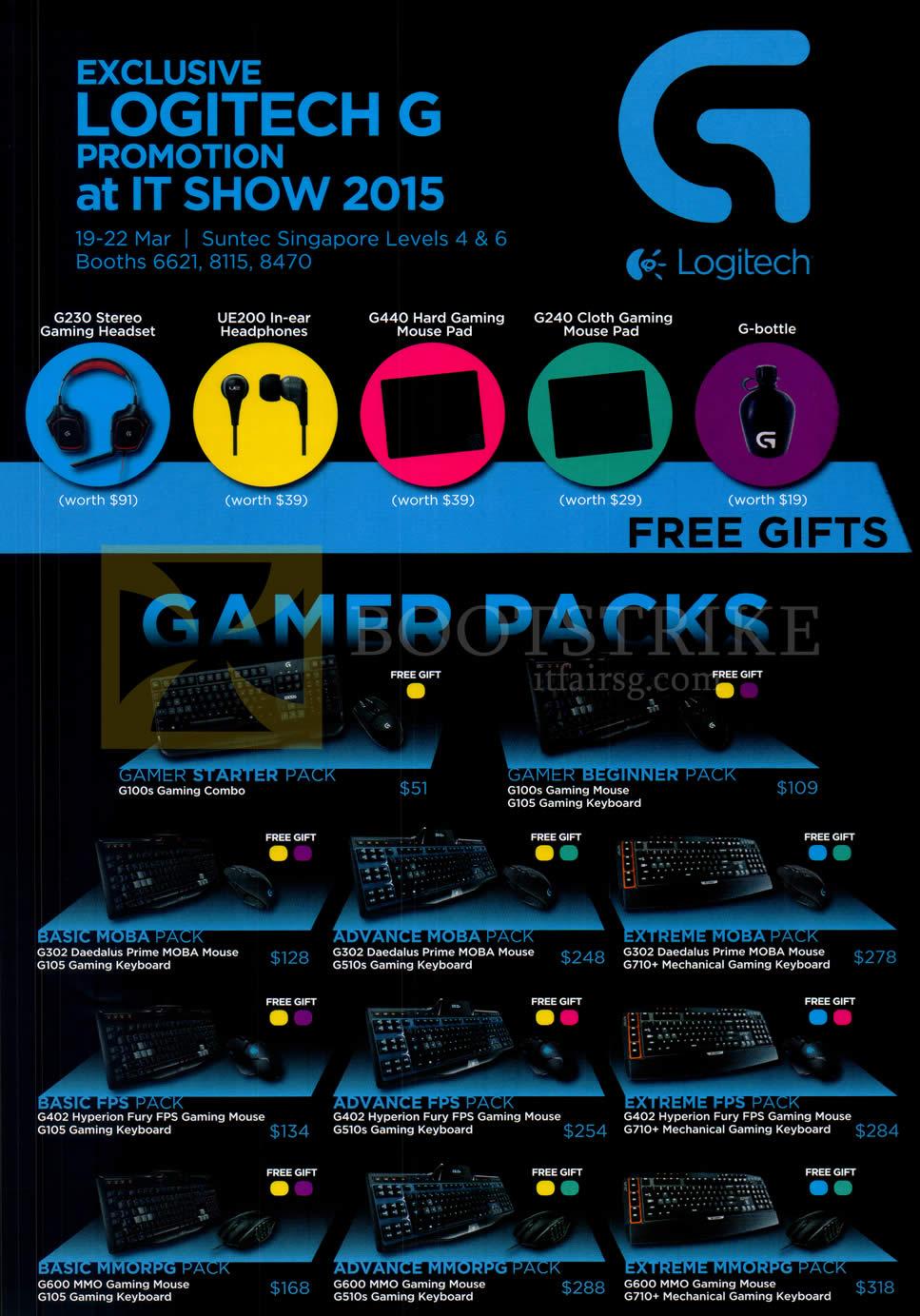 IT SHOW 2015 price list image brochure of Logitech Gaming Packs Keyboard, Mouse Pack Gamer Starter, Beginner, Basic, Advamce, Extreme Moba, FPS, MMORPG