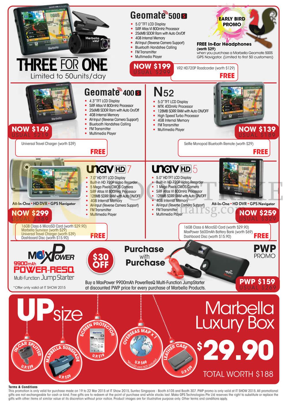 IT SHOW 2015 price list image brochure of Maka GPS Marbella GPS Navigators Geomate 500s, 400s, N52, Unav HD7, HD5, Upsize Luxury Box