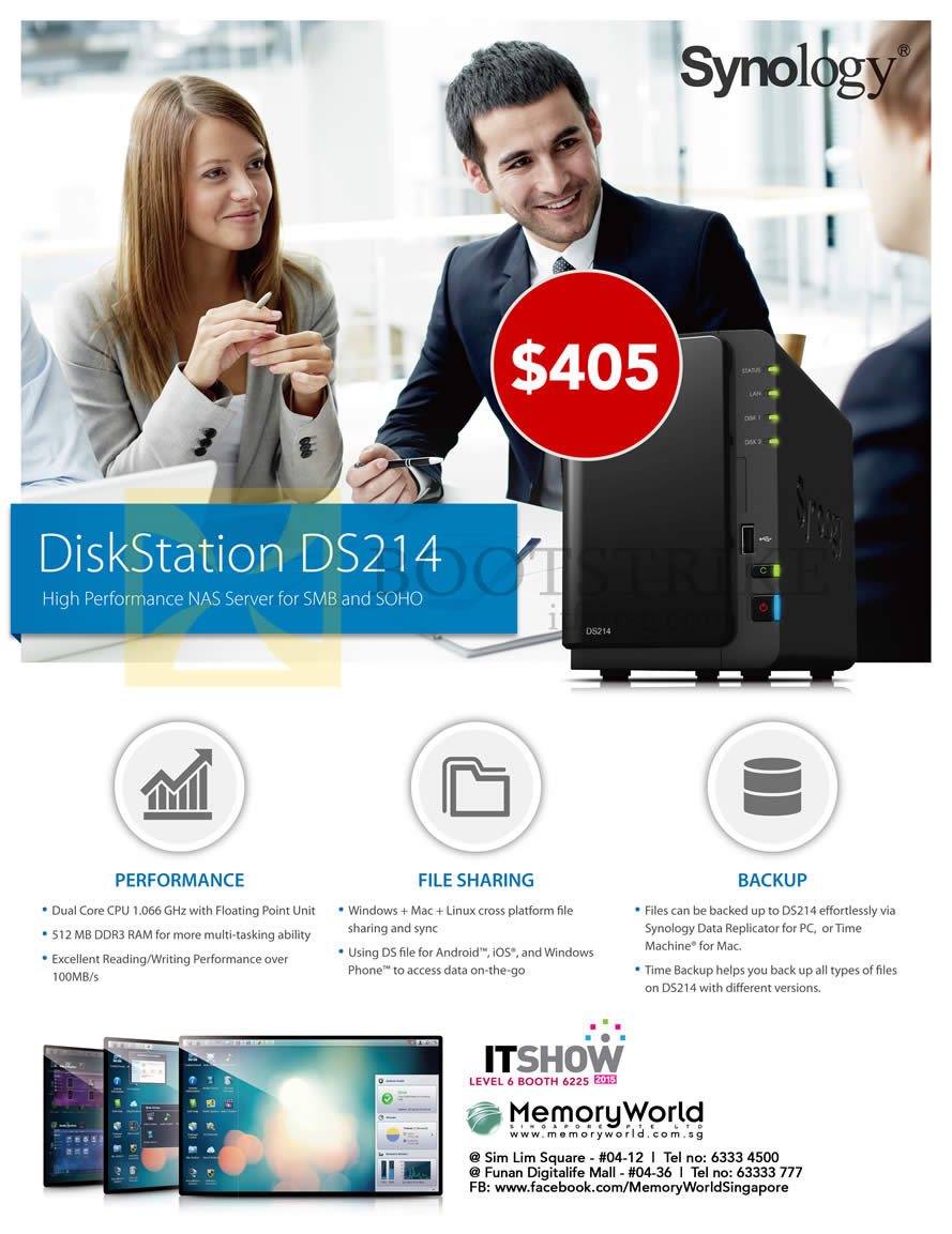 IT SHOW 2015 price list image brochure of Memory World NAS Synology DiskStation DS214