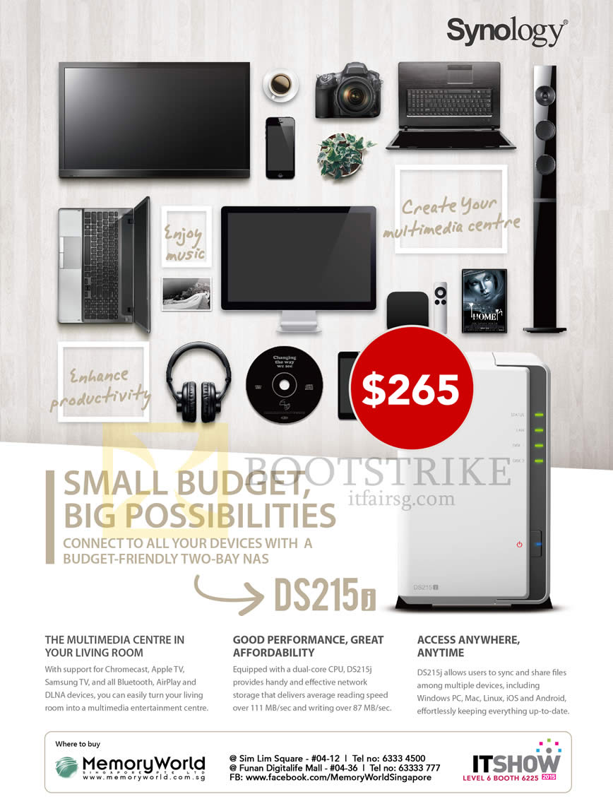 IT SHOW 2015 price list image brochure of Memory World NAS Synology DiskStation DS215j