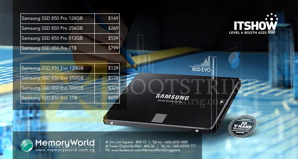 IT SHOW 2015 price list image brochure of Memory World Samsung SSD 850 Pro, Evo 128GB 256GB 512GB 1TB 120GB 250GB 500GB