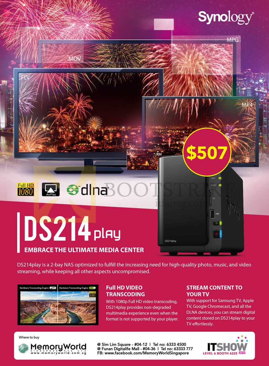 IT SHOW 2015 price list image brochure of Memory World Synology NAS DS214play