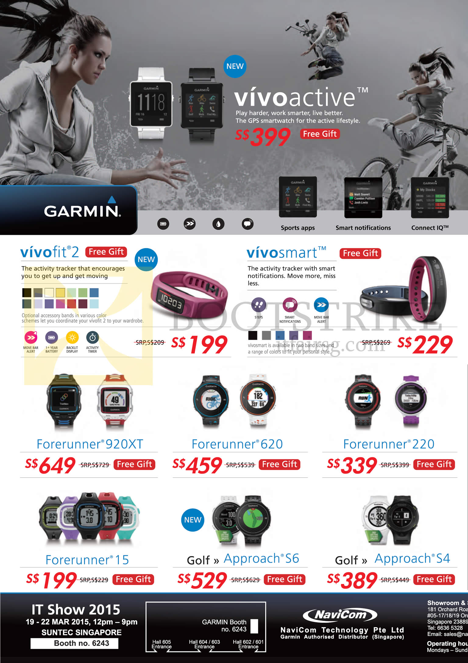 IT SHOW 2015 price list image brochure of Navicom Garmin Fitmess Bands GPS Watches Vivofit 2, Vivosmart, Forerunner 920XT, 620, 220, 15, Golf Approach S6, S4
