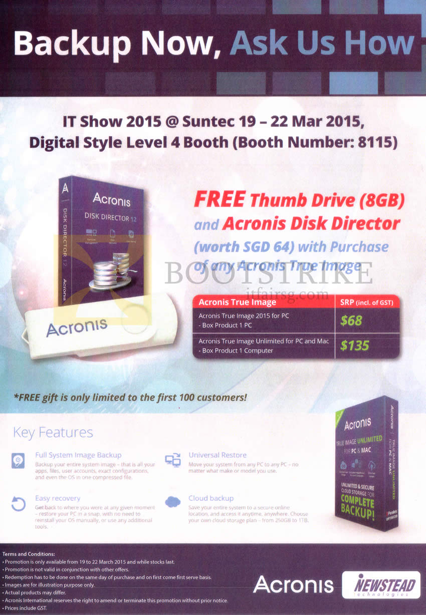 IT SHOW 2015 price list image brochure of Newstead Acronis True Image 2015