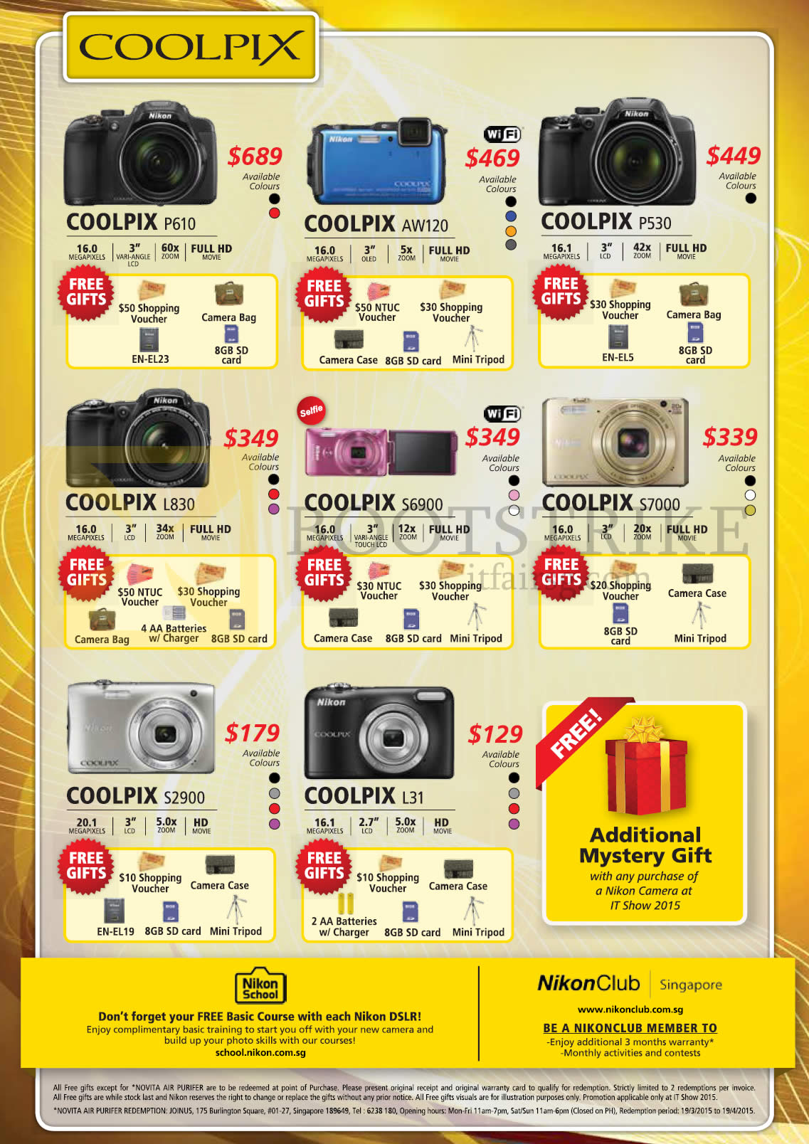 Nikon Digital Cameras Coolpix P610, AW120, P530, L830, S6900, S7000, S2900, L31, Mystery Gift