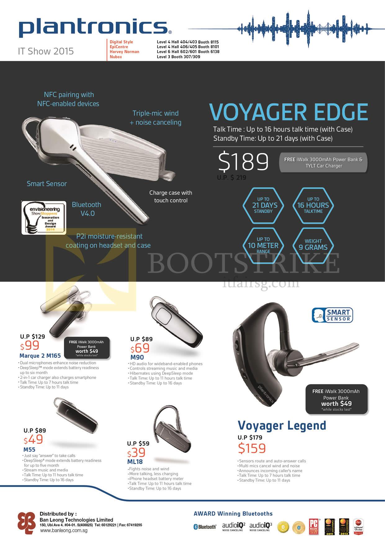 Plantronics Bluetooth Headsets Voyager Edge, Marque 2 M165