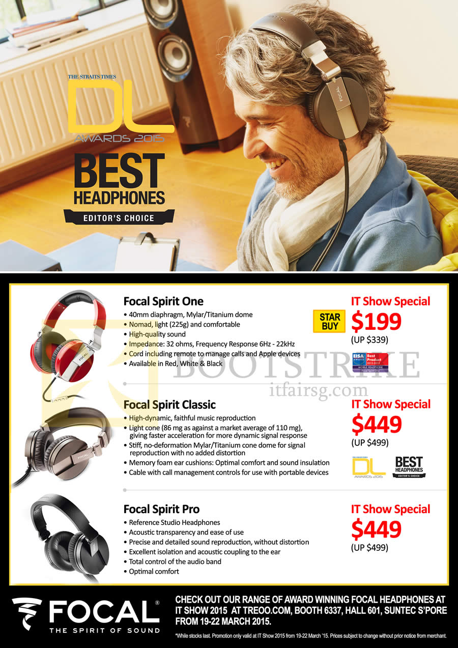 IT SHOW 2015 price list image brochure of Red Fusion Focal Headphones Focal Spirit One, Classic, Pro
