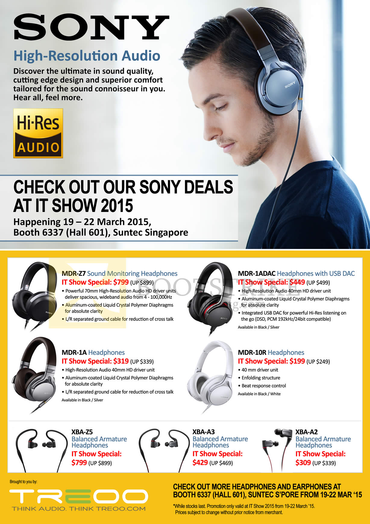 IT SHOW 2015 price list image brochure of Red Fusion Treoo Sony Headphones, Earphones, MDR-27, 1A, 1ADAC, 10R, XBA-Z5, A3, A2