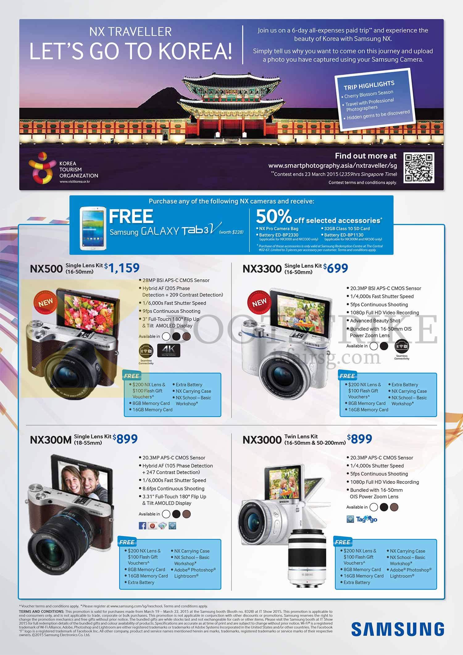 Samsung Digital Cameras NX500, NX3300, NX300M, NX3000