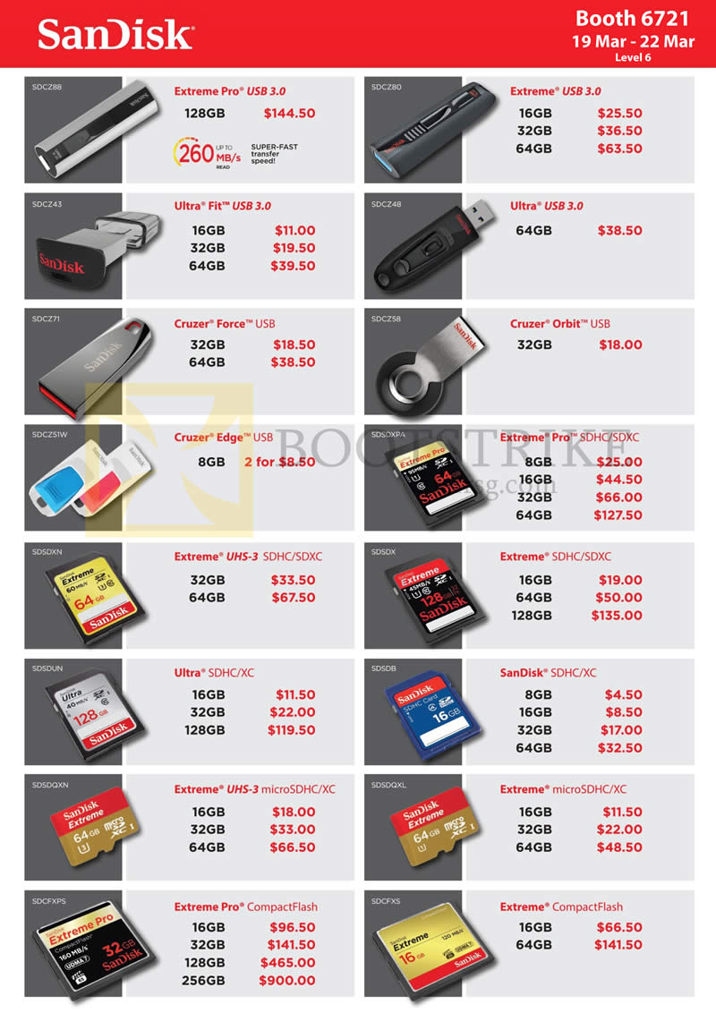 IT SHOW 2015 price list image brochure of Sandisk Memory Cards, USB Flash Drives Extreme Pro, SDHC SDXC UHS MicroSDHC CompactFlash, Ultra Fit, Cruzer Force, Orbit, Extreme Pro