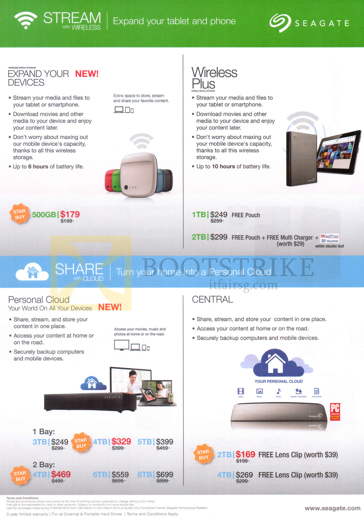 IT SHOW 2015 price list image brochure of Seagate External Storage Wireless Mobile Storage, Wireless Plus, Personal Cloud, Central 1TB, 2TB, 3TB, 4TB