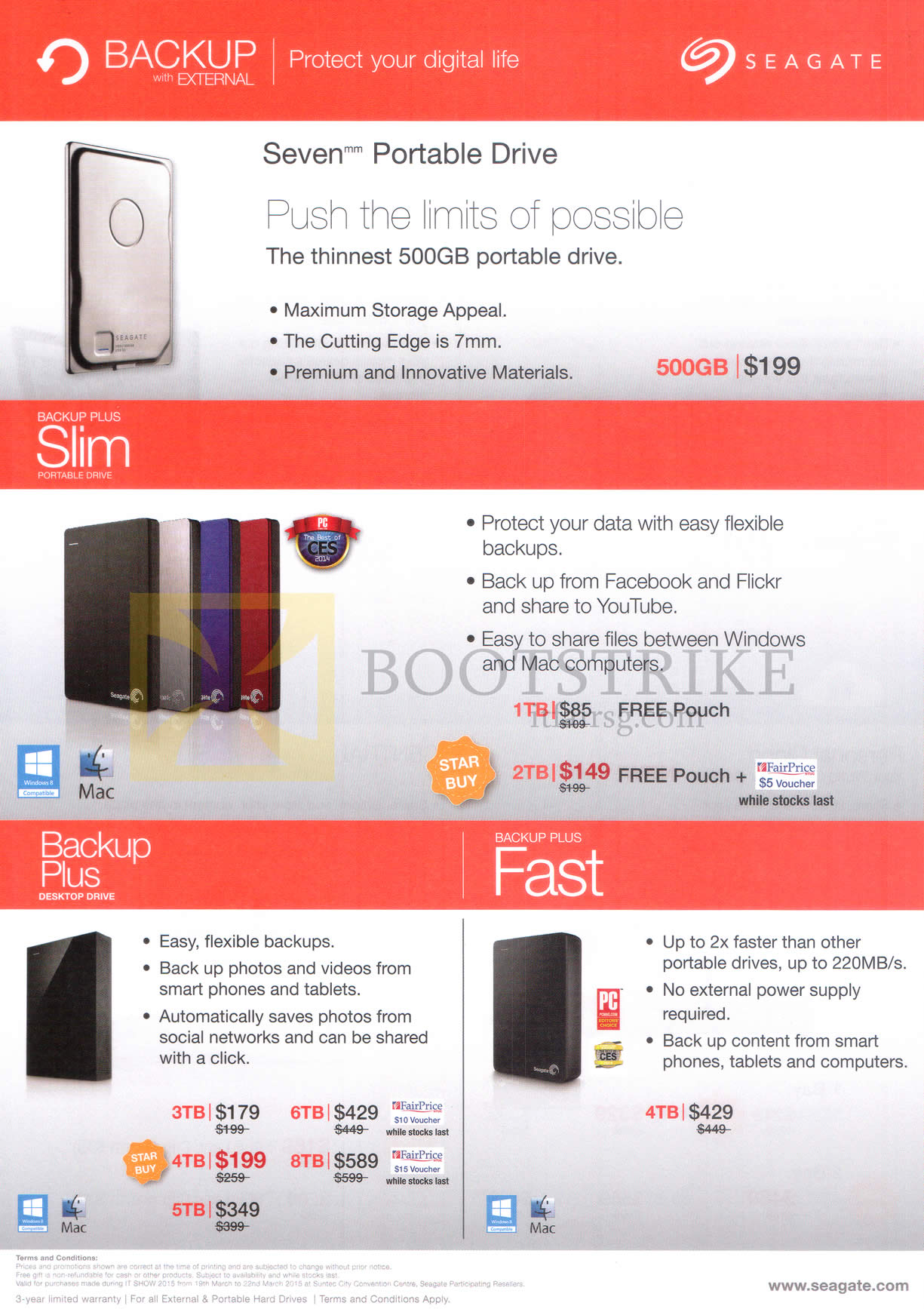 IT SHOW 2015 price list image brochure of Seagate Portable External Storage Disk Drives Backup Plus Slim, Desktop Drive, 500GB 1TB 2TB 3TB 4TB 5TB 6TB 8TB