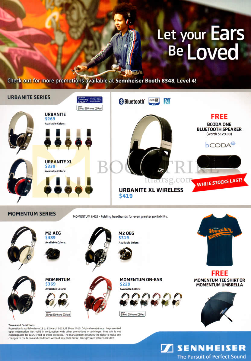IT SHOW 2015 price list image brochure of Sennheiser Headphones Urbanite, XL, XL Wireless, Momentum, ON Ear, M2 AEG, ME OEG