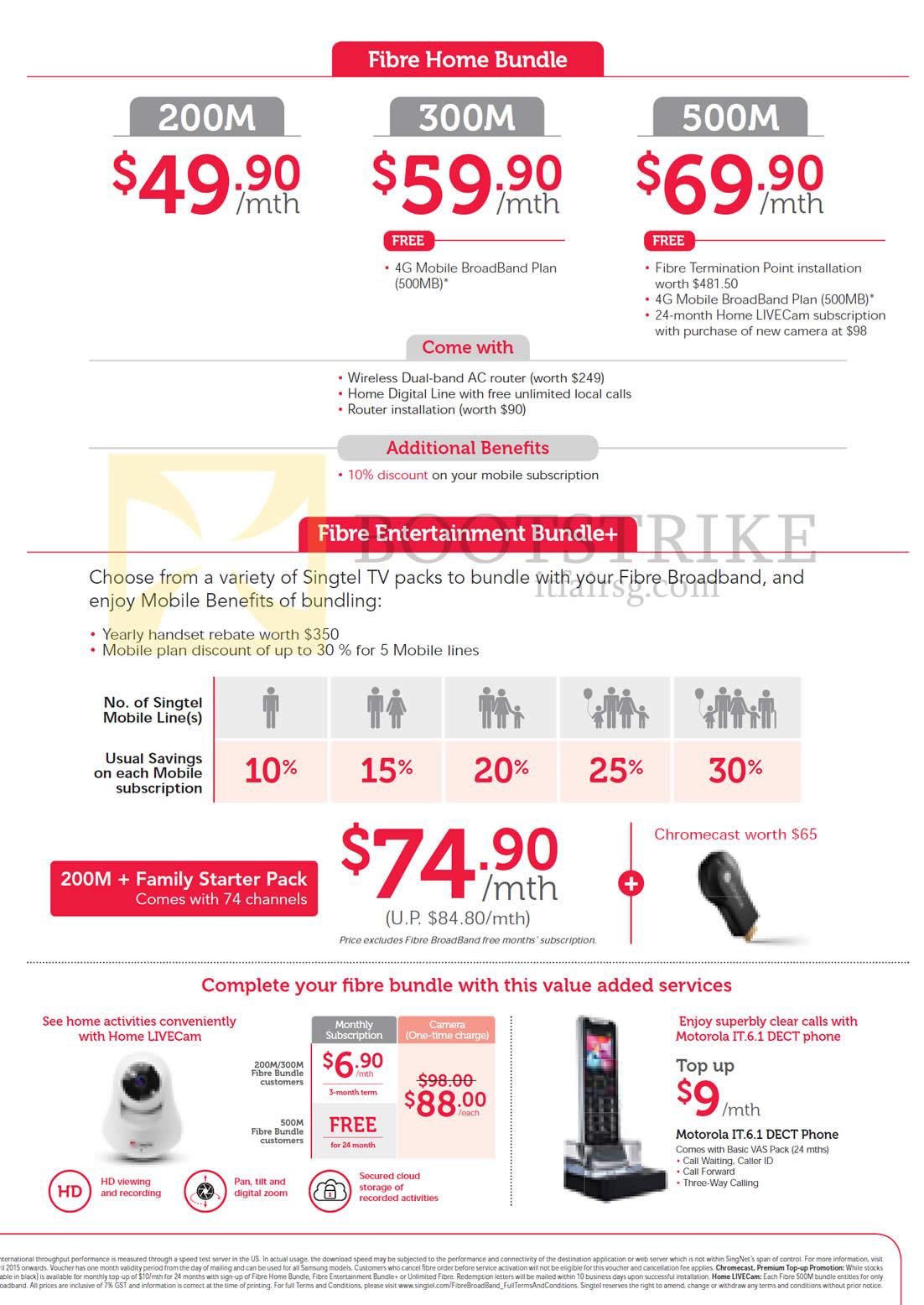 IT SHOW 2015 price list image brochure of Singtel Fibre Home Bundle, 200M, 300M, 500M, Fibre Entertainment Bundle, 200M Family Starter Pack, Chromecast, Home LIVECam, Motorola IT.6.1 DECT Phone