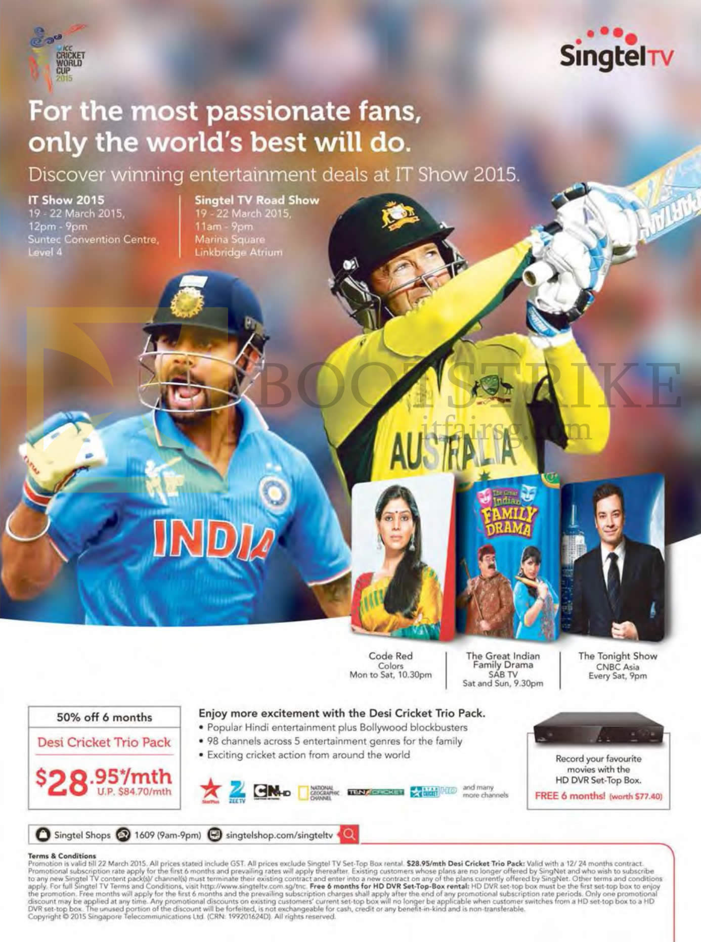 IT SHOW 2015 price list image brochure of Singtel Mio TV Desi Cricket Trio Pack